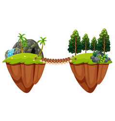 Wooden bridge conects two islands vector