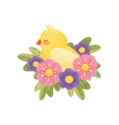 yellow canary with closed eyes on white background vector image