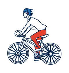 young guy riding cycle listen music with vector image