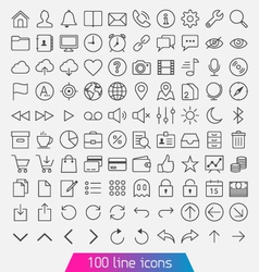 100 line icon set vector image vector image
