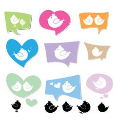 bird logo on speech bubbles vector image
