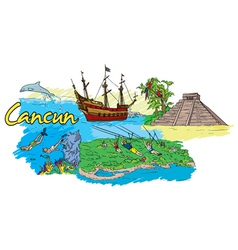 cancun doodles vector image vector image