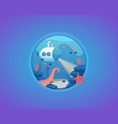 deep water life exploration bottom of sea vector image