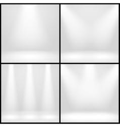 Empty white interior photo studio room with lamps vector image vector image