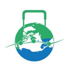 globe luggage shaped logo vector image