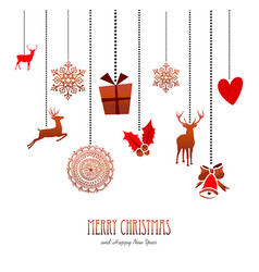 merry christmas retro hanging xmas decoration card vector image vector image
