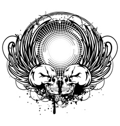 two skulls and wings vector image