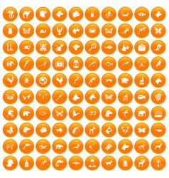 100 animals icons set orange vector image vector image