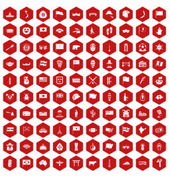 100 national flag icons hexagon red vector