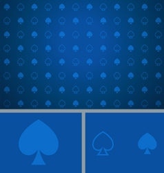 Clean abstract poker background blue spades vector