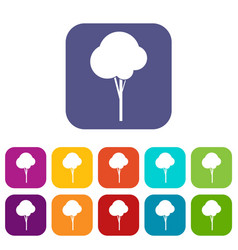 fluffy tree icons set vector image vector image