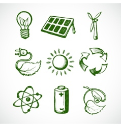 Green energy sketch icons vector image