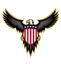 Patriotic American Bald Eagle and Shield vector image