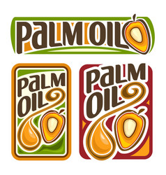Set labels for cooking palm oil vector