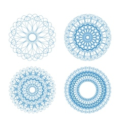 set of blue guilloche rosettes vector image vector image