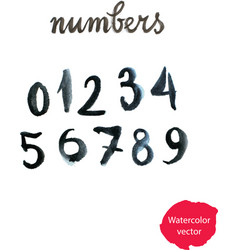 watercolor hand written black numbers vector image vector image