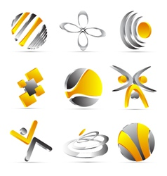 yellow business icons design vector image vector image