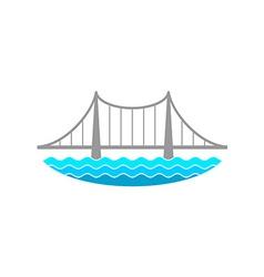 Bridge over the river logo vector image