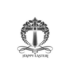 easter day cross in laurel icon vector image vector image