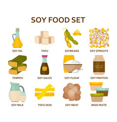 soy food flat icons set vector image vector image