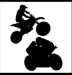 black silhouette of motorcyclist on white vector image vector image