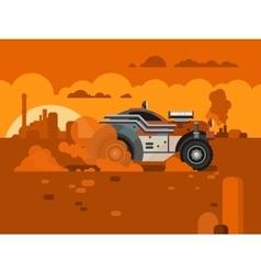 Driving Fast Retro Car Through Desert vector image