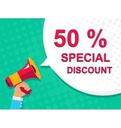 Megaphone with 50 percent special discount vector