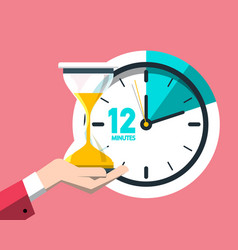 12 twelve minutes clock icon time symbol vector image