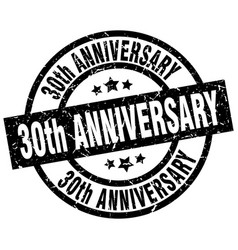 30th anniversary round grunge black stamp vector