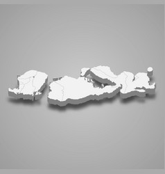 3d isometric map west nusa tenggara is a vector