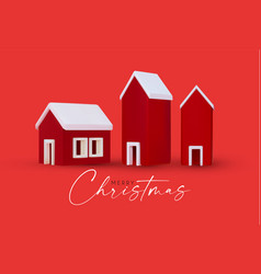 3d little christmas houses set with snow isolated vector image