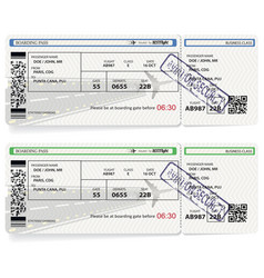 Airline passenger boarding pass tickets vector