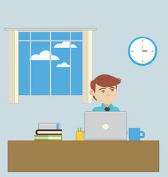 An employee in the office workplace vector