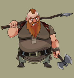 angry cartoon red man with a beard with a spear vector image