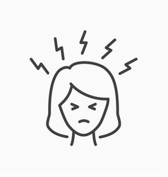 angry women person line icon on white background vector image