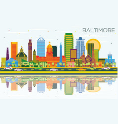 Baltimore maryland city skyline with color vector