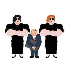 Bodyguard wooman and businessman with suitcase vector