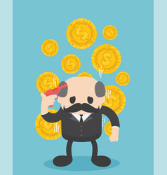 businessman boss think hard about money vector image