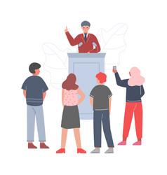 businessman standing behind rostrum giving speech vector image