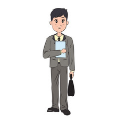 cartoon man business elegant manager vector image