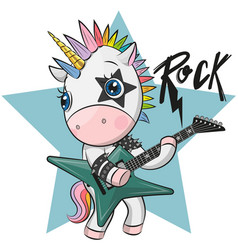 cartoon rock unicorn with a guitar vector image