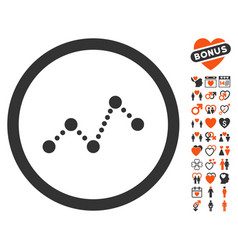 chart icon with lovely bonus vector image vector image