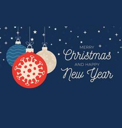 christmas coronavirus ball banner vector image