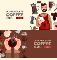 coffee production horizontal banners vector image