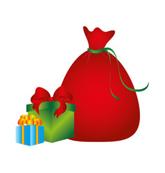Color silhouette with santa claus bag and gift vector