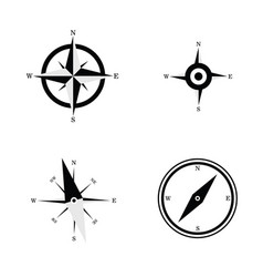 compass navigate set in black and white color vector image vector image