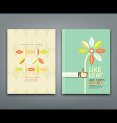 Cover annual report colorful leaf with flower vector