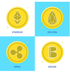 crypto currency icon set in flat style vector image