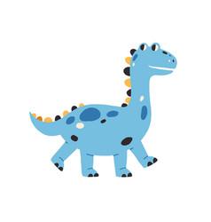 Cute baby dragon walking happy smiling dinosaur vector