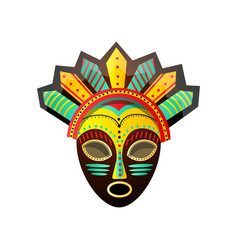 Cute colorful ritual african mask with red green vector